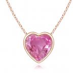 Bezel-Set Solitaire Heart Pink Sapphire Pendant
