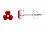 Round Ruby Three Stone Stud Earring